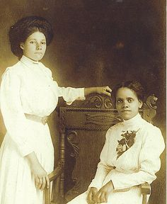 (circa 1914) | AFRICAN AMERICAN POET, EFFIE WALLER SMITH (1879-1960), seated (on the right) and her close friend, POLLY MULLINS RATLIFF (standing on left). EFFIE, the DAUGHTER of FORMER SLAVES, was born in Pike County, Kentucky in 1879 and PUBLISHED three BOOKS of POETRY before 1910. Effie was a SCHOOLTEACHER in Kentucky. Ms. Ratliff died at a very young age, leaving behind a young daughter named Ruth. Effie eventually moved to Wisconsin and adopted and raised Ruth.