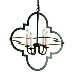 Kitchen island?  Like the shape and openness - $399 Quatrefoil Geometric Chandelier