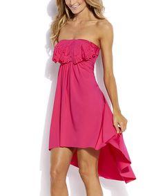 Neo Pink Eyelet Ruffle Lattice-Back Hi-Low Dress