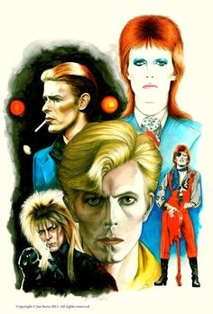 The Many Faces of David Bowie, illustration.