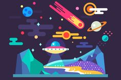 Space landscape in flat style by TastyVector on @creativemarket