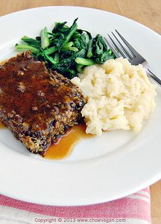 Asian Lentil Loaf with Chinese dried shiitake mushrooms, ginger, leeks and water chestnuts.