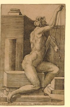 Seven liberal arts Geometry, a female nude holding a square and plumbline. 1544