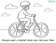 Bicycle Safety Coloring Sheet and other summer safety coloring sheets Summer Safety, Safety Week, Abc Poster, Preschool Class, Preschool Lessons, Preschool Curriculum, Preschool Activities, Coloring Sheets, Coloring Pages