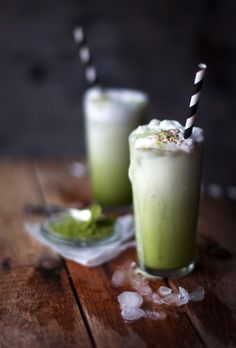 matcha frappes with coconut milk via Earthsprout