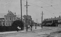 Lordship Lane, Wood Green looking east, Lordship Lane School on the the left on the junction of Ellenborough Road North London, Old Photos, Britain, Past, Buildings, Street View, School, Wood, Green