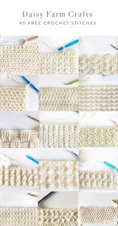 40 free crochet stitches from daisy farm crafts crafts crochet daisy farm free stitches Learn how to crochet the knit stitch successfully in this step-by-step video tutorial. The knit stitch (AKA the waistcoat or center single crochet stitch) can be Crochet Stitches Patterns, Knitting Stitches, Stitch Patterns, Knitting Patterns, Different Crochet Stitches, Crochet Stitches For Blankets, Crochet Unique, Easy Crochet, Popular Crochet
