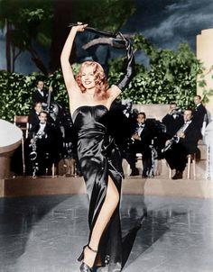 colorized Rita Hayworth in Gilda