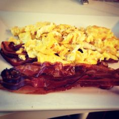 Classic Bacon and Scrambled Eggs. Want this and coffee cake muffins for my Birthday Breakfast. ;)
