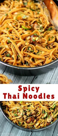 Unbelievable One Pot Spicy Thai Noodles are SO good and easy to cook up. This is a vegetarian recipe, but there are options for added protein too! The post One Pot Spicy Thai Noodles are SO good a . Asian Noodle Recipes, Tofu Recipes, Asian Recipes, Vegetarian Recipes, Cooking Recipes, Ethnic Recipes, Vegetarian Protein, Protein Recipes, Asian Foods