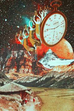 The Life By Illusion Of Time. Mixed Media Collage Art By Ayham Jabr. Instagram-Facebook