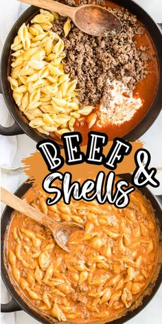 Creamy Beef & Shells - Ready in under 30 minutes! - Creamy Beef and Shells is a hearty pasta dish that is perfect for a quick dinner for the whole fami - Beef Dishes, Pasta Dishes, Crockpot Dishes, Queso Cheddar, Cheddar Cheese, Ground Beef Recipes For Dinner, Ground Beef Meals, Tasty Dinner Recipes, Recipes Using Ground Beef
