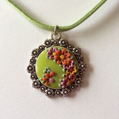 Fresh Green Floral Polymer Applique Clay Pendant £5.99