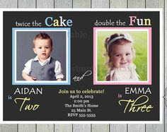 Joint Birthday Party Invitation Wording For Adults Shared Parties Sibling Twin