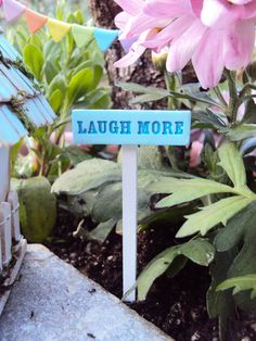 Fairy Garden Miniature Sign Laugh More by HelloLittleCloud on Etsy