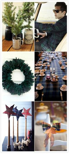 wreath, tablecloth and camping equipment as vases - - - small rosemary trees or pine as centerpiece