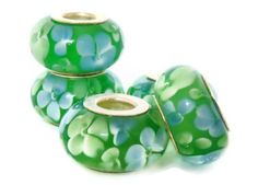 Green and Blue Floral European Style Large Hole Bead with a Sterling Silver Core. $4.99, via Etsy.