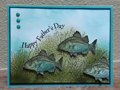 Father's Day card made for the Sunday Stamps Challenge #127 at: http://sundaystamps.blogspot.com/  Lots of sponging (even the fish) and then fussy cutting the three fish out (the most time consuming part of the project). Wish SU had framelits for this set!!!  Inspired by Kim Williams at Stampin' with Kjoyink.