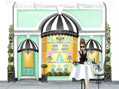 Custom illustration commission by illustrator SANDY M for The Breakfast at Tiffany's Bakery.