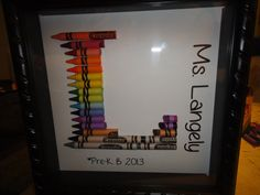 teacher gift personalized rainbow crayon letter art letter l