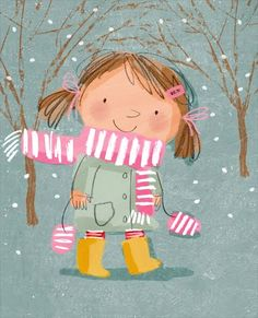 in love drawings Winter Illustration, Children's Book Illustration, Book Illustrations, Illustration Mignonne, Art Mignon, Winter Art, Christmas Art, Christmas Graphics, Cute Art