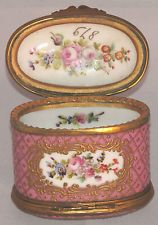ANTIQUE FRENCH SEVRES/LIMOGES GILT ORMOLU PINK PORCELAIN BOX, SIGNED LEDUC c1880