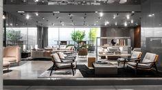 Minotti company showroom. Fynn armchair, GamFratesi design; Torii bergère, nendo design. #minotti #company #showroom #gamfratesi #nendo Showroom, Conference Room, Table, Furniture, Design, Home Decor, Decoration Home, Room Decor