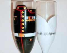 This is a set of 2 champagne flutes and cake knife and server set hand painted Military Army Uniform and wedding dress, Or Navy, Air Force, Army, Coast Guard which ever you prefer. Please note that the cake knife and server will not have as much detail in them as the flutes. I will need the following information:  1.The medals and the ribbons  2.The color of the pants and jacket  3. If it has a yellow stripe down the pants  4. How many stripes are in the chevrons  5. a photo of the uniform…