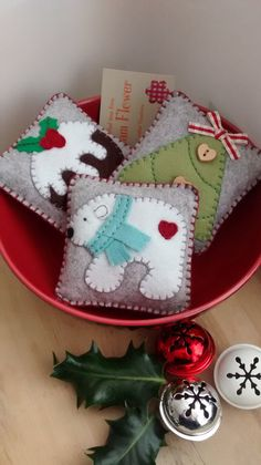 These three felt ornaments would make an ideal festive bowl filler decoration.  Each one is designed and handmade by me in soft felt and filled