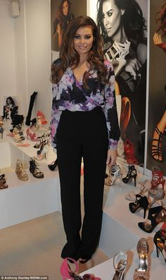 The 29-year-old TOWIE beauty was dressed to impress as she promoted her first ever footwear line