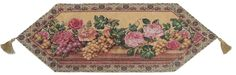 DaDa Bedding Romantic Parade of Fruit and Roses Floral Beige Pink Woven Place Mat Table Runners Cloths (14426)