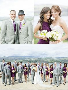purple and grey bridal party
