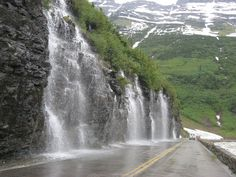 See from Logans Pass: Weeping Wall, Glacier National Park, Montana Best Places To Camp, The Places Youll Go, Places To Travel, Places To See, Camping Places, Glacier National Park Montana, Glacier Park, Yellowstone National Park, Waterton National Park