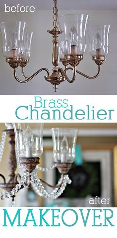 Brass Chandelier Makeover using craft paint and crystals from the craft store | In My Own Style