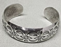 Native American Sterling Silver Cuff Bracelet Navajo by COBAYLEY, $95.00