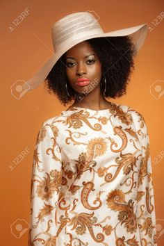 Retro 70s Fashion Afro Woman With Paisley Dress And White Hat ...