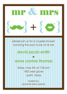 Mr. and Mrs. Symbols Couples Shower Invitation.