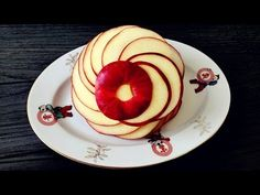 How To Make An Apple Rosette | Apple Art | Fruit Carving Garnish | Party Food Decoration - YouTube