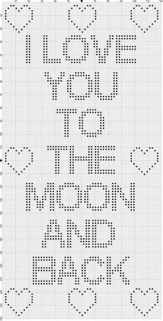 """I Love You to the Moon and Back"" Crochet Bobble Stitch Chart Crochet Puntada Bobble, Bobble Stitch Crochet Blanket, C2c Crochet, Baby Blanket Crochet, Free Crochet, Filet Crochet Charts, Crochet Stitches Patterns, Cross Stitch Patterns, Crochet Letters Pattern"