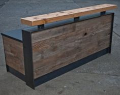 This is a reclaimed reception desk that features a doug fir beam piece at the standing height element and barn wood facade. The metal wraps the Into The Woods, Reception Counter, Reception Areas, Reception Desk Height, Retail Counter, Bar Counter, Wood Facade, Wood Desk, Industrial Furniture