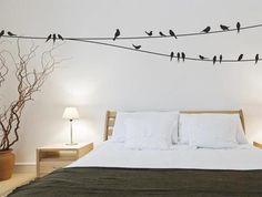Love the birds on the wall. #bedroom
