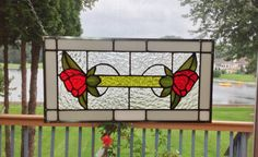 Victorian style 2 red flowers stained glass panel by SGHovel