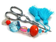 Scissor Fob Beaded Aqua Blue Orange Craft Accessory by TJBdesigns, $18.00