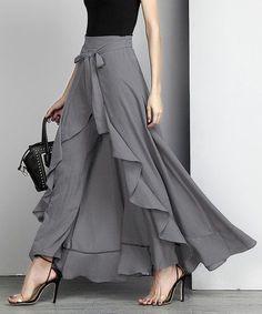 Reborn Collection Charcoal Chiffon High-Waist Ruffle Pants - Women office wear or wedding outfit Look Fashion, Hijab Fashion, Fashion Dresses, Womens Fashion, Fashion Design, Fashion Spring, Fashion Ideas, Feminine Fashion, Classy Fashion