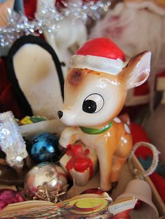 Vintage Christmas Deer discovered by helvarsh deer Christmas Figurines, Christmas Deer, Christmas Past, Vintage Christmas Ornaments, Retro Christmas, Christmas Items, Vintage Holiday, Christmas Decorations, Vintage Decorations
