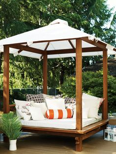 Outdoor Bed & Nap Spots - Buy a daybed This showstopping daybed by The Sweetwater Cabana is a posh shaded oasis of pillows ( - Outdoor Cabana, Outdoor Daybed, Outdoor Decor, Outdoor Pillow, Daybed Room, Patio Daybed, Deck Furniture, City Furniture, Furniture Cleaning