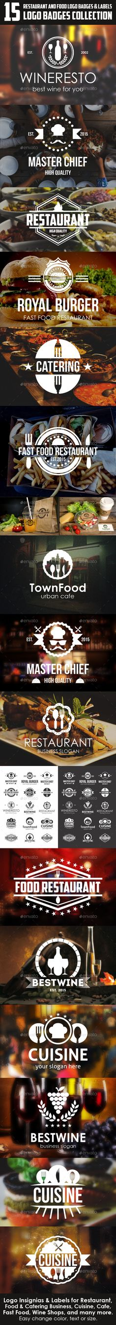Restaurant and Food Logo Badges & Labels Template #design Download: http://graphicriver.net/item/restaurant-and-food-logo-badges-labels/12188569?ref=ksioks