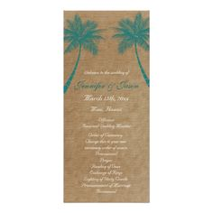 Palm Trees Tropical Teal Beach Wedding Programs Rack Cards