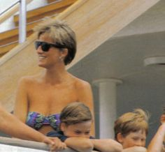Princess Diana on vacation with William and Harry.