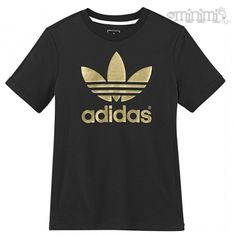 20ba782372454 Photo Adidas Originals Tee Shirt Trefoil enfant 8-14 ans - Noir et or   Basket  Enfant  Kid  Sneakers  Rentrée